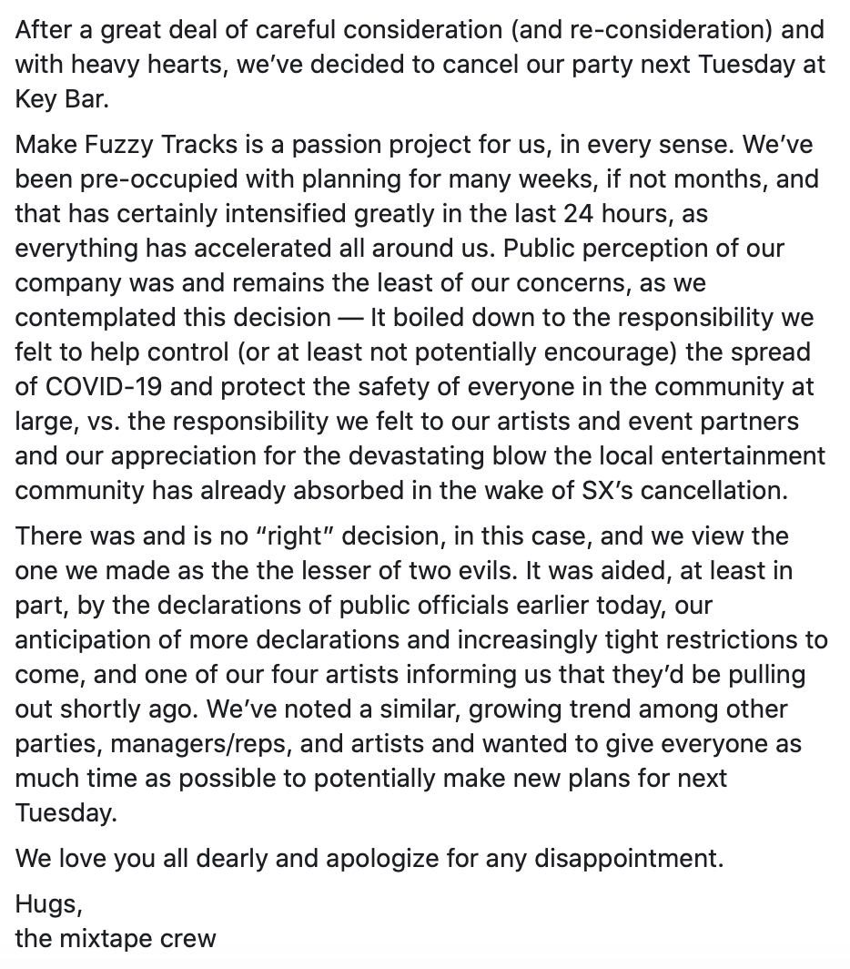 Make Fuzzy Tracks 2020 party cancellation notice